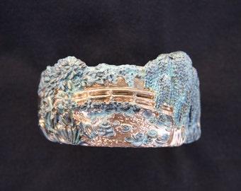 Bronze Mens Cuff Bracelet,  Homage to Monet