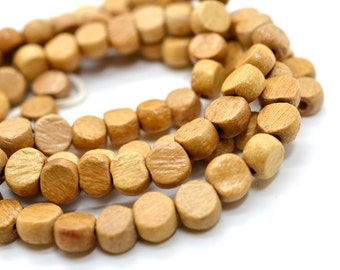 8mm Natural Wood   Beads,  Wooden Beads,  Wood Bead Strand, Mala Beads  -B512