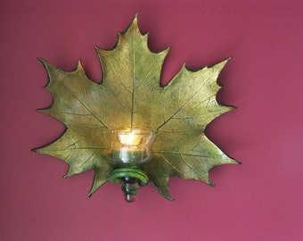 Glittering Gold and Green Clay Maple Leaf Candle Holder