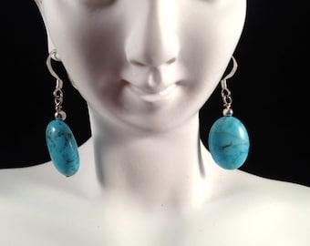 Vintage, Turquoise Egg Earrings : E104