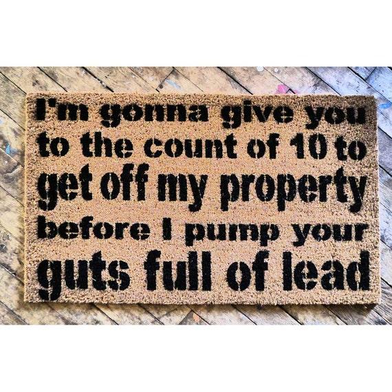 Items similar to guts full of lead rude doormat on etsy - Offensive doormats ...