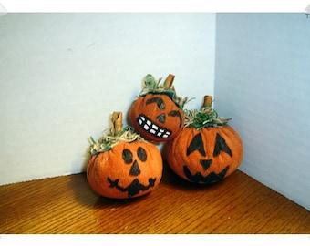 Halloween Suede Pumpkins/Set of 3 / Holiday Decor/Handmade**