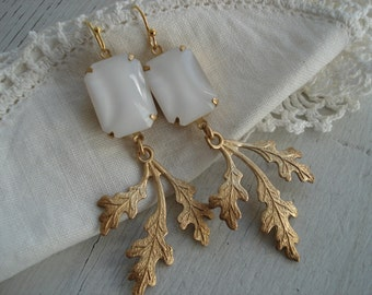Vintage White Czech Moonstone Glass Earrings Gold Oak Leaf Dangles
