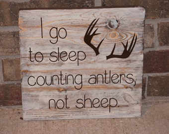 Custom I Go To Sleep Counting Antlers Not Sheep Rustic Nursery Little Boy Wooden Sign YOU CHOOSE COLORS