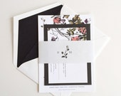 Flower Wedding Invitation, Floral Wedding Invitation, Vintage Botanical Wedding Invitation, Romantic Wedding Invitation, Victorian