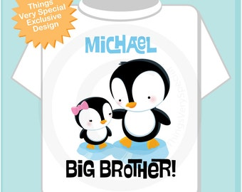 Penguin Big Brother Onesie or Tee Shirt, Personalized with little sister Baby (01072014b)