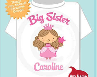 Princess Big Sister Shirt, Personalized Big Sister Shirt or Onesie, Big Sister Shirt for Toddlers and Kids (03252014d)