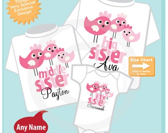 Girls Set of Three Big Sister, Middle Sister, Little Sister Birdie Shirts and Onesie Personalized with your child's name (06272013d)