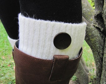 Boot Socks-Boot Cuffs-Full Sock Included-Ivory Knit with Wooden Button-Knee High Socks-Leg Warmers