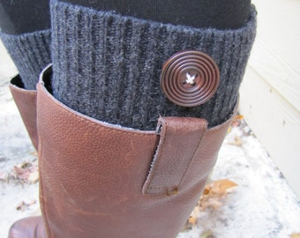 Boot Socks-Boot Cuffs-Full SOCK INCLUDED-Knee High Boot Socks-Gray Knit with Wooden Button-Socks