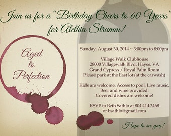 Aged to Perfection / Wine Tasting Birthday Invitation