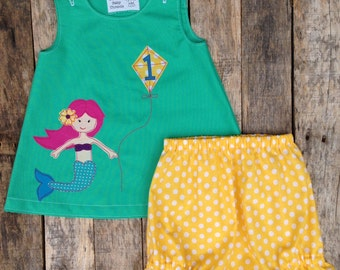 Mermaid First Birthday Dress and Bloomers