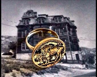 Buffalo vintage button ring