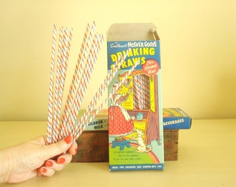 """2 boxes Mother Goose drinking straws by Sweetheart, 1940s 1950s classic graphics, working """"cupboard"""" door, straws intact, vintage film prop"""