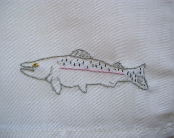 4 Hand embroidered Rainbow Trout cloth napkins