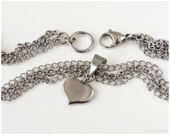 Silver Heart Necklace, Triple Chain, Stainless Steel - Kawaii Jewelry