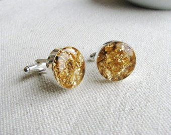 Gold Cufflinks Resin Gold Foil Weddings Men Grooms Groomsmen Cuff Link Bridal Jewelry Man Gift Wedding Groomsmen Silver