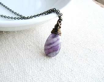 Amethyst Necklace Wire Wrapped Purple Briolette Stone Natural Gem February Birthstone Naturalist Gift Minimalist Modern Fresh