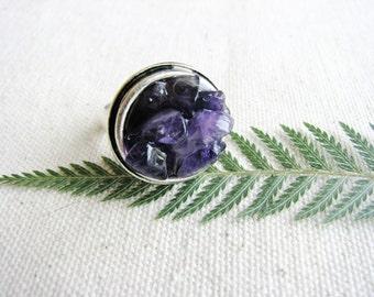 Stone Ring Rough Stone Adjustable Amethyst Chip Purple Naturalist Jewelry Boho Chic Geology Resin February Birthday Statement Minimalist