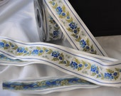 CLEARANCE SALE  50 discount  inspired, romantic, Satin Floral Jacquard Ribbon Trim with blue Flowers 10,90 yards