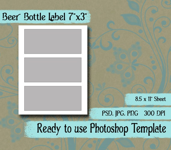 "Scrapbook Digital Collage Photoshop Template, 7"" X 3"" Beer"