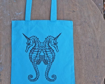 Sea horse Tote Bag / Sea Unicorn Design / Steam Punk Teal Aqua Color Tote Bag