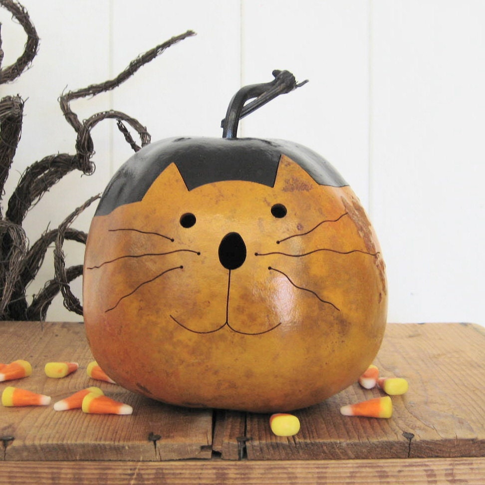 Natural Halloween Decorations: Halloween Gourd Kitty Cat Natural Fall Harvest By