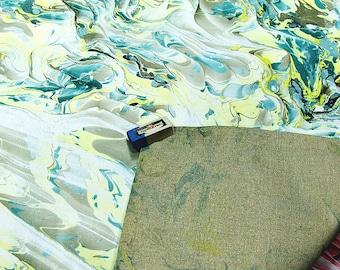 """hand marbled canvas, Handmarmoriert Leinwand, toile marbrè , tela màrmolada, tela  marmorizzata - 21,6"""" x 21,6"""" -  cm 54 x 54  -    2538"""