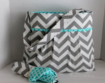 Monterey Chevron Diaper Bag Set - Large - In Grey Chevron And Aqua Dot - Adjustable Strap and Elastic Pockets