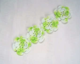 Appliques hand crocheted flowers set of 4  lemon lime cotton 1.5 inch