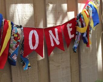 Super hero/ Marvels 4th birthday banner