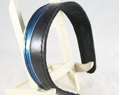 Wide saddle stitched leather headband in black and blue