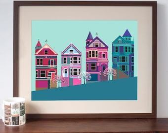 San Francisco Painted Ladies Art Print