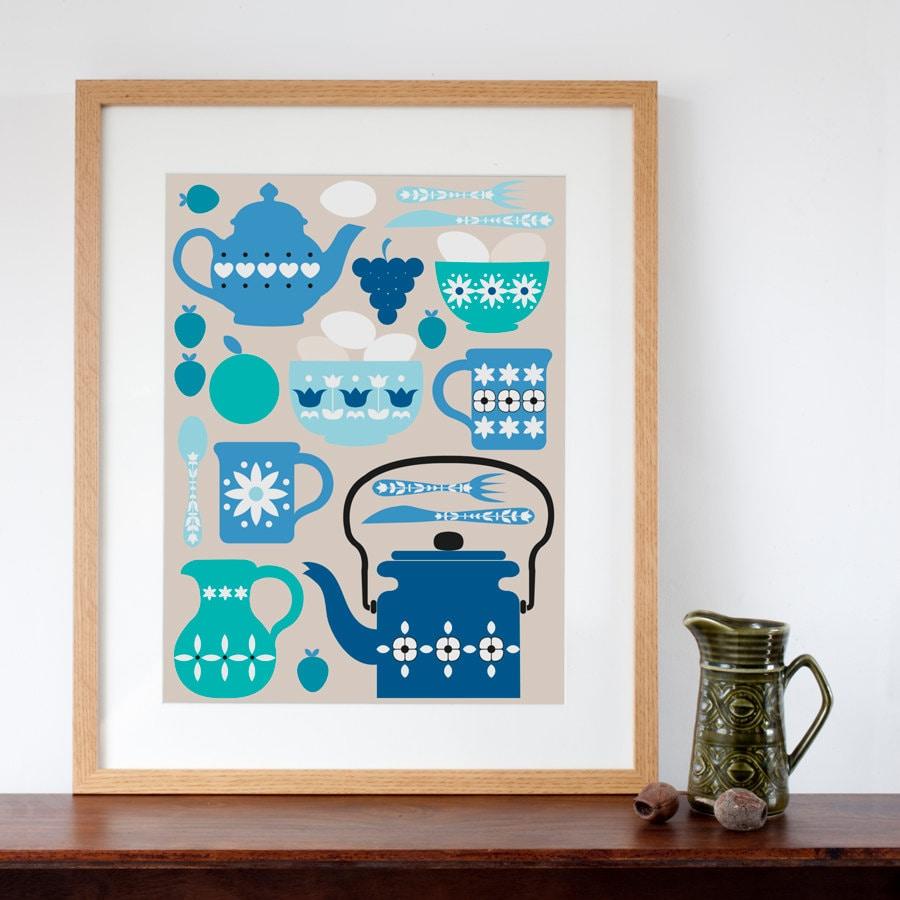 Retro Kitchen Illustration: Retro Kitchen Design Art Print