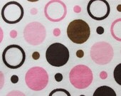Minky Cuddle Pink and Brown Polka Dot Fabric - Super Soft - Baby Girl Fabric - By the Yard