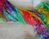 New - Hand dyed half inch -  SUMMER RAINBOW ribbon, 5 yards