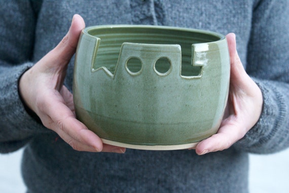 SECONDS SALE - The 'wool' yarn bowl in sage green