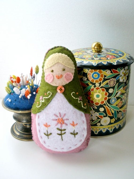 Felt Matryoshka Doll - Custom Embroidered Doll - MADE TO ORDER - You Choose Colors