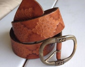Tooled Leather Belt, LEE - Thick, Fillegris, leather, brass buckle, small, S
