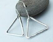 Small Triangle Earrings Silver Triangle Hoop Earrings Geometric Silver Earring Hammered Triangle Earrings Everyday Simple Minimalist Jewelry