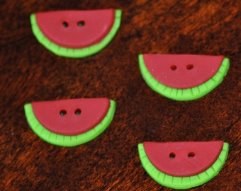 3/4 inch Watermelon Buttons - set of 4