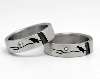Silver Wedding Band Set, Raven and Moon Rings, Sterling and Diamond,