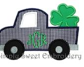 St. Patrick's Day Shamrock Truck Applique Design
