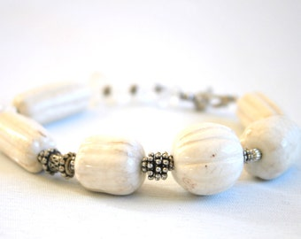 Vintage recycled bead anklet, chunky ankle bracelet, off white