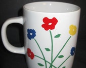 Set of 4 Retro Poppies Flower Mugs, Marimekko style, San Francisco, 1970s, on Etsy by TheRetroLife