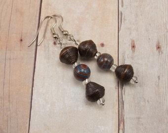 Earrings - Rwandan Paper Beads - Dark Brown with Blue and Brown Stones