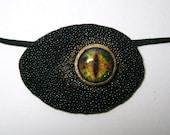Dragon eye eye patch stingray black leather. Stingray eyepatch.