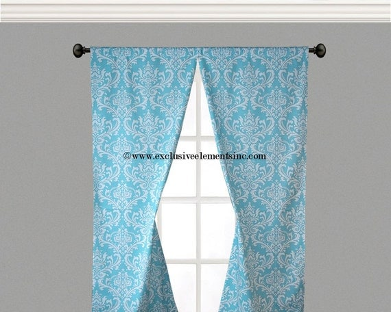 aqua blue curtain panels damask floral curtains pool blue drapery