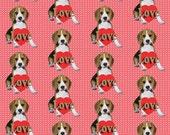 Beagle Puppy valentine's day fabric