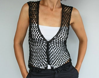 Loose Crochet Sweater Vest, Black Beaded, Boho Chic Jerkin, Black Mercerized Thread, Waistcoat Shrug. Handmade